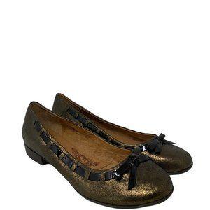 Sofft Paola Bronze Metallic Patent Trim Bow Flats US Size 8.5 M